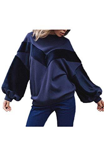 Frauen Casual Langarm Scoop Hals Puff Ärmel Fleece Perfect Sweatshirt Pullover Flickenteppich Pulli Tops Herbst Winter Style (Color : Navy, Size : L) -