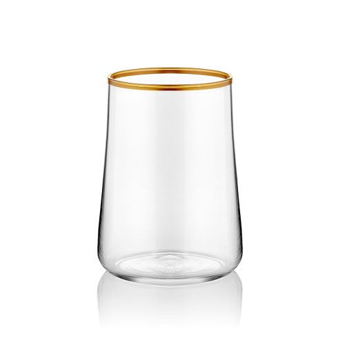 Un piccolo acqua vetro per caffè trasparente elegante con bordo in oro 120ml confezione da pezzi