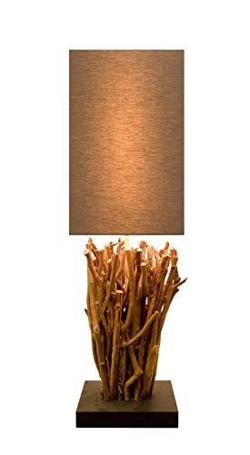 Holz Lampe Elementaire Echtholz Handarbeit mit Baumwoll Schirm braun massiv ca. 20 x 20 x 72 cm nachhaltig Tischleuchte Tischlampe (Elementaire) -
