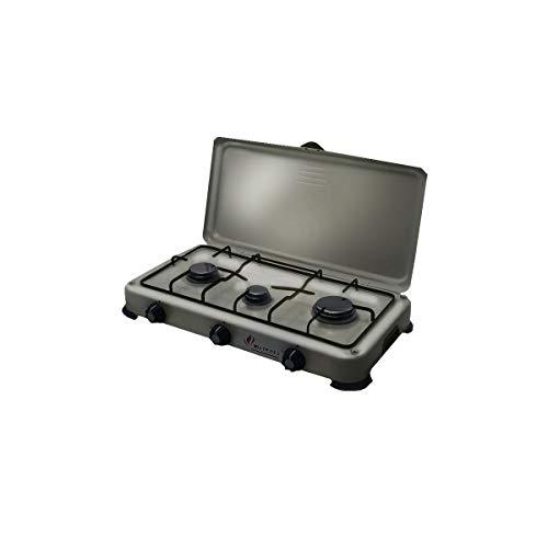 Backblech, mobiler Gasgrill 3-flammig 4100W Silver 3butane- Propan grau Aluminium-Kocher Edelstahl-Deckel -