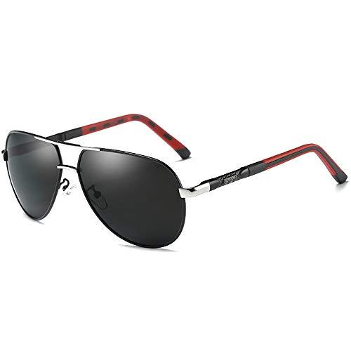 FURUDONGHAI Mode Wilde Farbe Film Neue polarisierte Legierung Material Sonnenbrille Gold/Silber Rahmen schwarz Objektiv Herren Driving Sonnenbrille besonders geeignet für sommerreisen oder Outdoor s