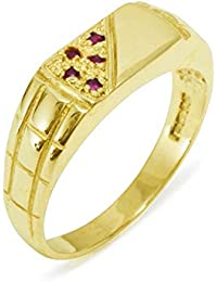 LetsBuyGold 14ct Yellow Gold Natural Ruby Mens Band Ring - Sizes N to Z Available