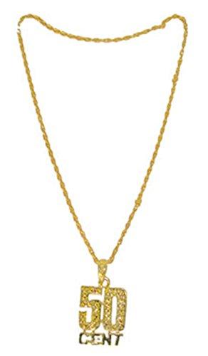 erdbeerclown - Kostüm Accessoire- 80er- 90er Jahre- 50 cent Gold Kette, Erwachsenen Kostümschmuck, - 50 Cent En Kostüm