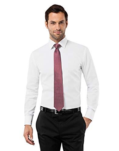 Vincenzo Boretti Herren-Hemd bügelfrei 100% Baumwolle Slim-fit tailliert Uni-Farben - Männer lang-arm Hemden für Anzug Krawatte Business Hochzeit Freizeit weiß 41/42 (Weißes Männer-hemd)