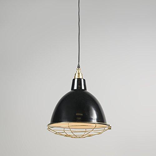 QAZQA Modern 2-flammiger-Set Pendelleuchte / Pendellampe / Hängelampe / Lampe / Leuchte Strijp O schwarz / Innenbeleuchtung / Wohnzimmer / Schlafzimmer / Küche Metall Rund LED geeignet E27 Max. 2 x 40 - 3