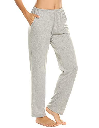 Damen Schlafanzughose Pyjamahosen Schlafanzug Hose Lang Jerseyhose Schlafhosen Unifarbe Freizeithosen Hausehose mit Zwei Taschen Grau M