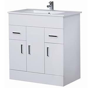 Home Standard® Ice Cube White Gloss 800mm Furniture Floorstanding Vanity Unit & Minimalist Basin
