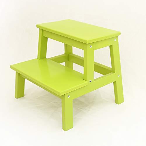 ChangDe Holzstufenhocker 2 Stufen-Schemel-Leiter für Kinderküche-hölzerne Leitern-kleine Fuß-Schemel-tragbarer Schuh-InnenBank/Blumen-Regal/Speicher-Regal Trittleiter aus Holz