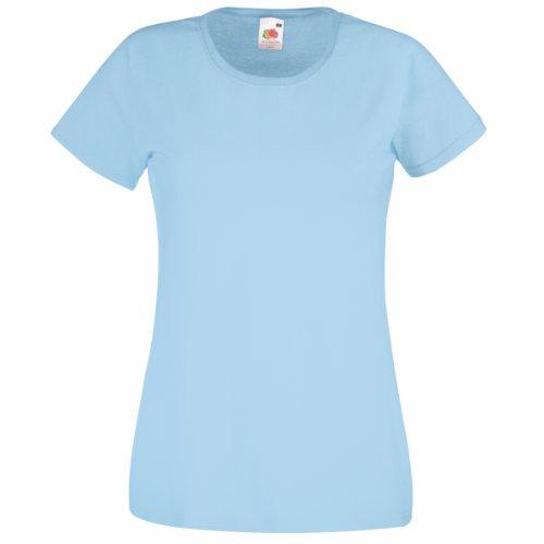 Fruit of the Loom - T-shirt -  Femme Bleu azur/bleu ciel
