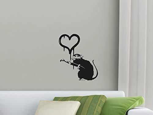 Nette Maus Silhouette Kunst Wandaufkleber Mit Herz Muster Süße Wandtattoos Für Zuhause Schlafzimmer Liebevolles Dekor Vinyltapete Wm 42x50 cm