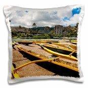 Boats - Hawaii, Honolulu, outrigger boats, Maunalua Bay - Bill Bachmann - 16x16 inch Pillow (Hawaii Outrigger)