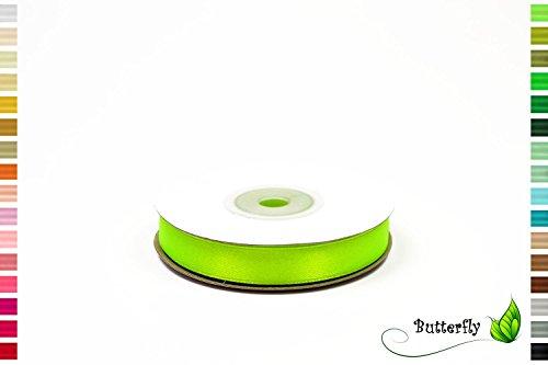 25m Rolle Satinband 12mm ( hell grün neon 544 ) // Deko Band Satin Geschenkband Schleifenband Dekoband Dekoration Hochzeit Taufe