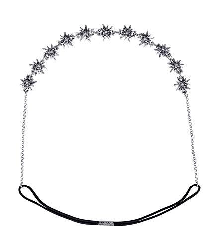 SIX Oktoberfest Damen Haarband, Haarschmuck, Trachtenschmuck, Edelweiß, Blumen, Metall, Strasssteine, silberfarben (456-701)
