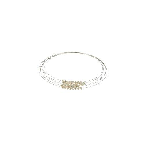 Schmuck-Les-Poulettes-Weie-Perle-Choker-Halskette-und-Rhodium-Silberdraht-40-weien-Swasser-Perlen-4mm