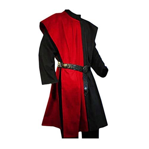 Renaissance Kostüm Pirat - Herren Mittelalter Tunika Seitliche Öffnung Farbe Spleißen Kittel Renaissance Viktorianisch Wikinger Pirat Kleidung Halloween Cosplay Kostüm (Ohne Gürtel)