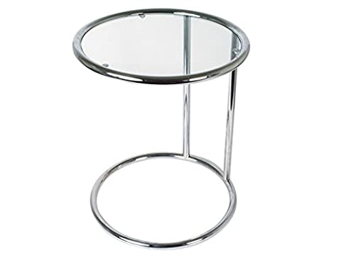 Leitmotiv Chrome Steel Glass Top Side Table