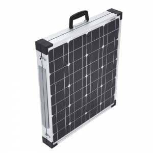 Panneau Solaire Photovoltaïque Monocristallin Pliable Rétractable Portatif - 100W Recharge Batteries 12V - Toit Caravane Camping Car Bateau Hangar - Sur Pieds Cadre Aluminium Blanc - Charge Micro-Ondes Lampe Chauffage