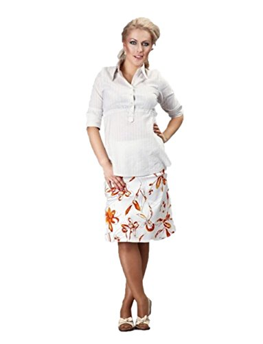 Rose Pixie A-Line Imprimé Floral FuturaLondon Maternité Grossesse Jupe Fresh - Orange - 36 X-Small