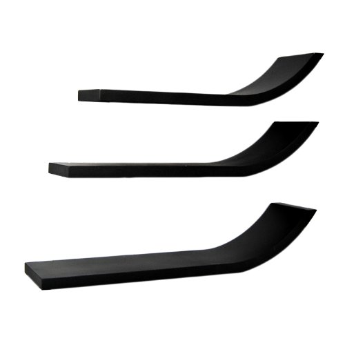 ts-ideen 5753Set von 3Wandregale Stil Trendige, L, 2X 3, runde Ecken, Kunststoff, schwarz