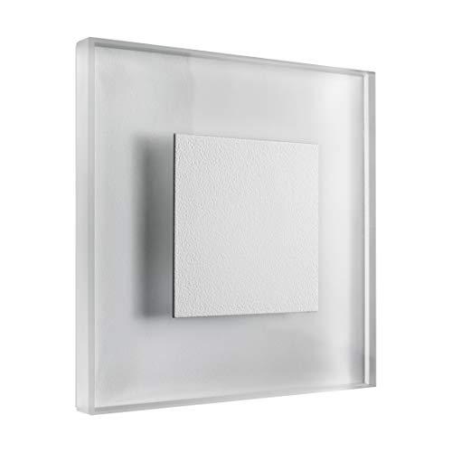 SET LED Treppenbeleuchtung Premium SunLED Large Warmweiß 230V 1W Echtes Glas Wandleuchten Treppenlicht mit Unterputzdose Treppen-Stufen-Beleuchtung Wandeinbauleuchte (Alu: Weiß, 7er Set) -