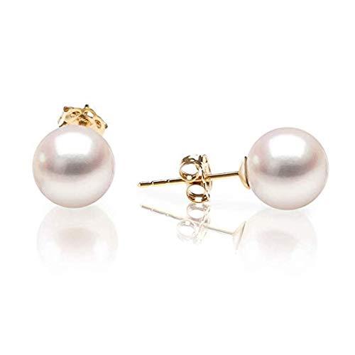 Light-Jewelry Orecchini Donna in Argento 925 Placcati in Oro 18k, realizzati con Perle Naturali, Design di Alta Qualità, Confezione Regalo (Placcato Oro 18k)