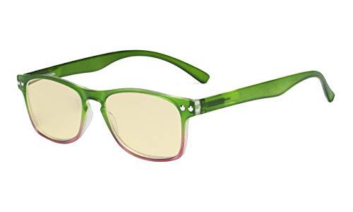 Eyekepper Computer-Lesebrille,Blaulicht-Blockierung.Stilvolle Brille Damen.Gelb getönt,Grün +1.25