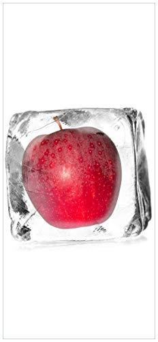 Wallario Selbstklebende Türtapete mit Schutzlaminat, Motiv: Roter Apfel in Eiswürfel - Eiskaltes Obst - Größe: 93 x 205 cm in Premium-Qualität