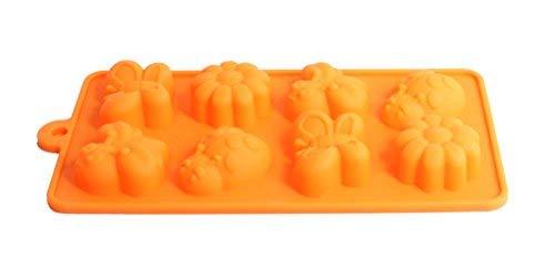 Silikon Candy Formen-Orange Silikon Schokolade Formen-Fondant Formen Biene, Schmetterling, Blume-flexibel Seife Formen-Backen Formen-Silikon Ice Cube-Tabletts-8Tassen (Schokoladen-orangen-trüffel)