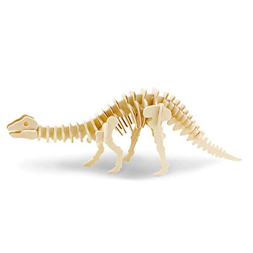 Georgie Porgy Bloques de construcción Animales del Rompecabezas de Madera 3D para el Regalo Educativo del Juguete del Rompecabezas de los niños (JP219 Brontosaurio)
