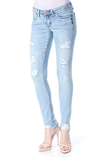 Silver Jeans Co. Damen Tuesday Low Rise Skinny Jeans, Light Wash Destroyed, 26W x 29L Denim Destroyed Low Rise Jeans
