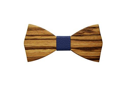 Papillon in legno di zebrano con nodo in pelle accessori moda cerimonia