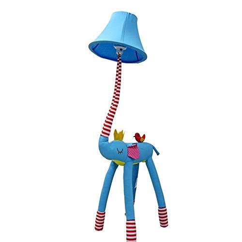 Lámpara de pie Dibujos animados creativo probóscide lámpara de pie de tela dormitorio de los niños protección para los ojos lámpara de noche diy luz permanente e27 A+ ( Color : Blue , Size : Dimming )