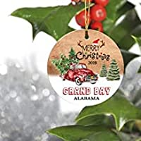 "Belle10Bob Merry Christmas Tree Decorations Ornaments 2019 for Grand Bay Alabama AL Residents - Keepsake Gift Ideas Ornament 3"" for Family, Friend and Housewarming"