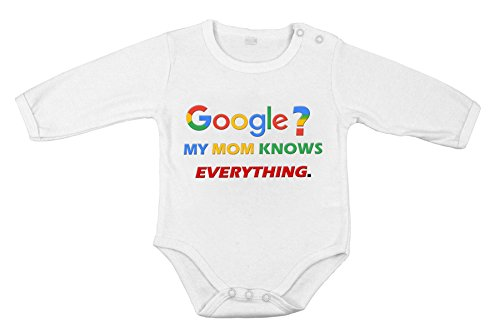 Baby Newborn Clothing Long sleeve Suit Google mom knows everything print 18M