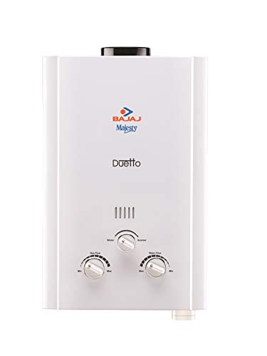 Bajaj Majesty Duetto Gas 6 LTR Vertical Water Heater (LPG), White