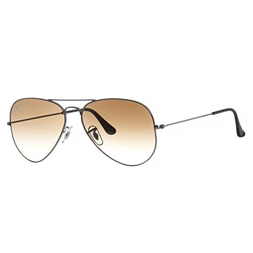 Preisvergleich Produktbild Ray Ban Unisex Sonnenbrille Aviator,  Gr. Large (Herstellergröße: 58),  Grau (grau 004 / 51,  Gläser: kristall braun verlauf)