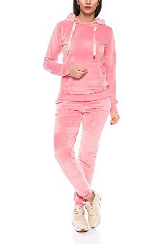 Crazy Age Damen Anzug Freizeit Sport Alltag | Samt Nicki Velvet | Kuschelig Sportlich Elegant | XS - XL (Rosa, XL)