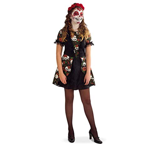 KarnevalsTeufel Damenkostüm Catalina Kleid Tag der Toten Dia de los Muertos Mexico Gr 140 - 164 (164)