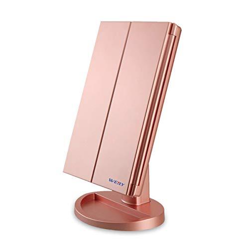 Espejo Maquillaje con Luz,WEILY Triple Espejo Plegable Lámpara LED 180 Grado de Rotación Coméstico con Mostrador, Regalos Originales para Mujer (Oro)