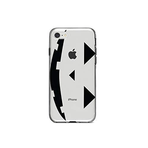 DistinctInk Klar Stoß- Hybrid-Fall für iPhone 7 / iPhone 8 (Not Plus) TPU Auto, Acryl Zurück, ausgeglichene Glas-Schirm-Schutz Kürbis-Gesicht auf Clear Case