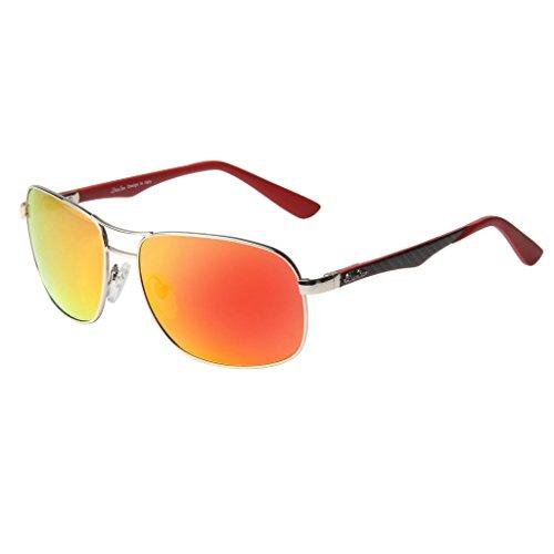 LianSan Mode Entwerfer Sonnenbrille Frauen M?nner polarisiert Flieger Jahrgang Retro Fahren Sonnenbrillen Metall Rahmen Kunststoff Linse LSP806T Rot
