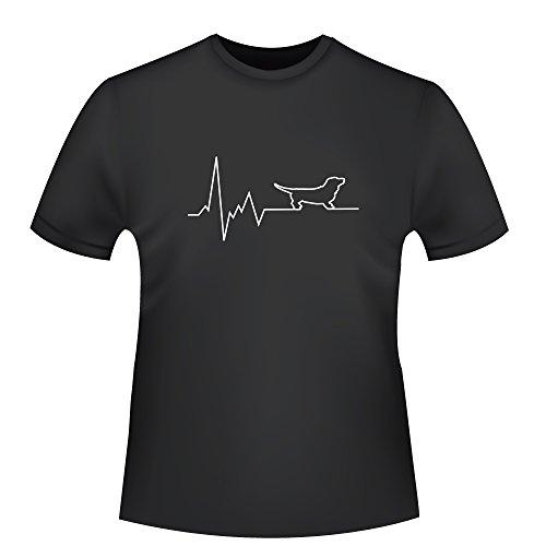 Herzschlag Dackel, Herren T-Shirt - Fairtrade -, Größe L, Schwarz (T-shirt Dackel Bio Herren)