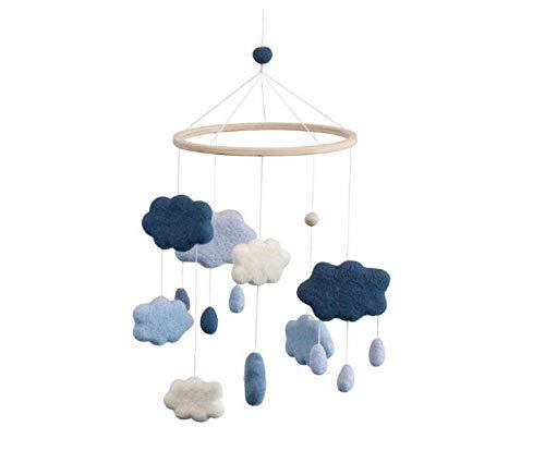 Sebra - Filz-Babymobile - Mobile - Windspiel - Wolken - royal Blue