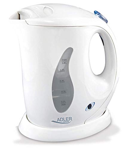 Adler AD 02 Hervidor de Agua Eléctrico de 760 W, 0.6 litros, 0 Decibeles, Polímero Libre de BPA, Blanco...
