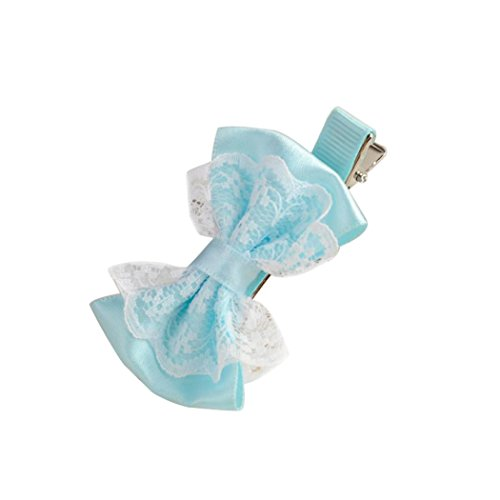 BeautyTop 1PC Nettes Spitze-Bowknot-Haar-Klipp-Baby-Haarnadel-Kind-Haar-Zusätze (Hellblau) (Top Knit Creme)