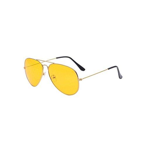 Amcool Nachtsicht Pilotenbrille Sonnenbrille Fliegerbrille UV400 Gläser mit Federscharnier (Gold)