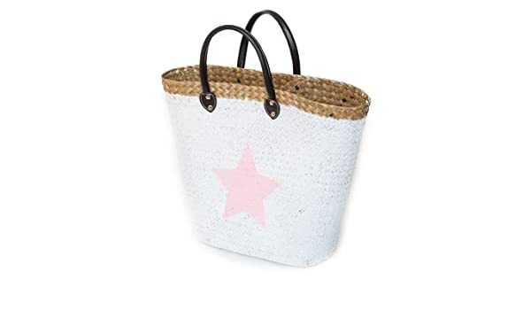 Ibiza Beach Bag Shopper Bag with Star in grey: Amazon.co.uk ...
