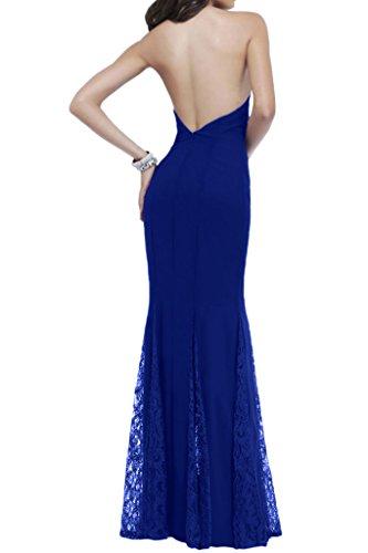 Ivydressing V-Ausschnitt Meerjungfrau Spitze&Chiffon Lang Festkleid Abendkleid Royalblau