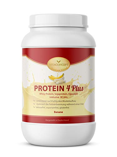 PROTEIN PULVER 4 PLUS I 1kg Proteinpulver I Whey Protein - Sojaprotein inkl. BCAA I Made in Germany von VITACONCEPT Banane