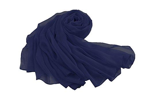 Flora, stola avvolgente in chiffon, per spose e damigelle d'onore, lunga 228,6cm, misura l, adatta a serate eleganti navy blue taglia unica